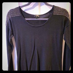 Express Small black sweater, rhinestone shoulders
